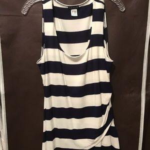 NWOT Navy blue/cream striped tunic tank top. L
